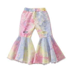 Specialcal Toddler Little Kid Girls Denim Jeans Bell Bottom Flare Pants Leggings Trousers (2-3Y, Tie Dye Pink Purple)
