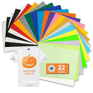 "TILON PU Heat Transfer Vinyl Bundle 22 Sheets 12""×10"" Iron on HTV for Halloween DIY Ideas, 19 Vibrant Assorted Colors Adhesive T-Shirt Vinyl for Cricut&Silhouette Cameo or Heat Press"