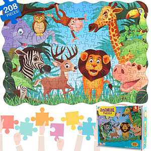 IFLOVE Puzzles for Kids Animal of The Colorful Floor Puzzle Recognition & Memory Skill Practice for Kids Preschool Educational Learning Jigsaw for Children (208 Pieces) (Animal)