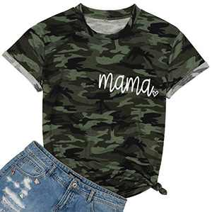 Camouflage Shirts for Women Camo Mama Letter Printed T-Shirt Casual Short Sleeve Crewneck Tee Tops (Dark Green, Small)