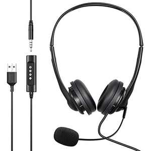 [2020 Upgraded] USB/3.5mm Computer Headset with Microphone, Newaner Retractable Noise Cancelling, Lightweight PC Wired Headphones, Business Headset for Skype, Webinar, Call Center, School