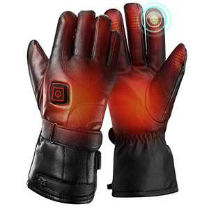 Heated Gloves for Men Women with 4000mAh Rechargeable Battery Finger Hand Warmers Touch Waterproof Breathable for Winter Outdoors Sport, Length 11.8'', Palm Width 4.72'', Finger Length 3.9'',XL