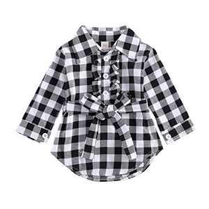 Kids Little Boys Girls Long Sleeve Button Down Red Plaid Flannel Shirt Dress with Belt (12-18M, Black Plaid Shirt Dress Belted)
