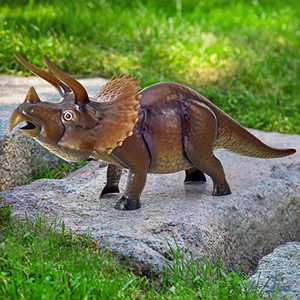 Kircust Garden Sculpture & Statue, Jurassic Dinosaur Garden Art Sculpture Metal Triceratops Lawn Ornament Large Animal Yard Art for Home, Patio, Porch, Backyard