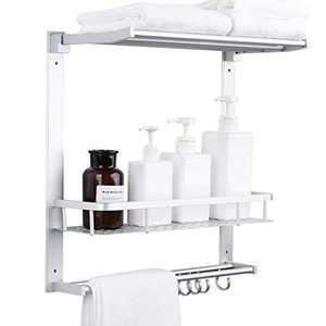 Aoyar Bathroom Shelf with Towel Bar,Wall Mounted Shower Shelves with Bath Towel Shelf,Home Toilet 3-Layer Storage Rack for Shower Caddy,Bathroom and Toilet - Space Aluminum(Rustproof)