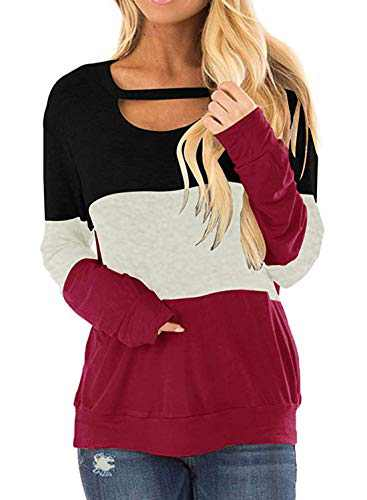 DKKK Tunic Tops for Leggings for Women,Long Sleeve Shirts Crew Neck T Shirt Plain Knit Flared Bottom Fit Loosely Summer Clothes Maternity Tunic Over Plus Size Red 2XL