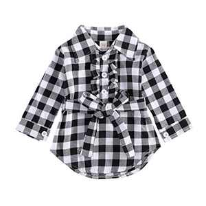 Kids Little Boys Girls Long Sleeve Button Down Red Plaid Flannel Shirt Dress with Belt (3-4T, Black Plaid Shirt Dress Belted)