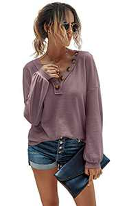 CinShein Women's Waffle Long Sleeve T Shirt V Neck Tunic Tops Knit Button Up Casual Fall Loose Blouse Shirts Pullover Pink Purple M