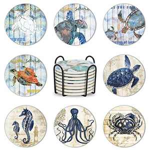 Set of 8 Coasters for Drinks, Maxuni Ceramic Coasters Absorbent Coasters for Tabletop Protection, Non-Slip Cork Base, Drink Coasters with Holder for Housewarming, Birthday, Party, Turtles Coasters
