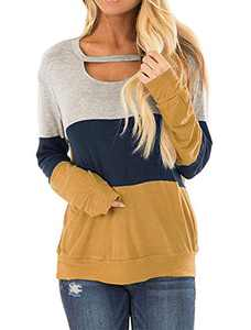 DKKK Burgundy Tee for Women Long Sleeve Tunics for Leggings O-Neck Knits Casual Leopard Print T Shirt Soft Aline Hem Plain Flared Loose Fit Vacation Plus Size Yellow XXL