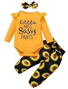 Shalofer Baby Girl Little Miss Sassy Pants Long Sleeve Clothes Set Toddler Floral Outfits with Headband (Yellow10,18-24 Months)