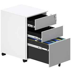 YITAHOME Metal Filing Cabinet Office Drawers with Keys and Wheels, 3-Drawer Portable File Cabinet, Pre-Built Office Storage Cabinet for A4/Letter/Legal (Black) (Grey and White)