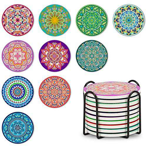Set of 10 Coasters for Drinks, Maxuni Mandala Ceramic Coasters Absorbent Coasters for Tabletop Protection, Non-Slip Cork Base, Drink Coasters with Holder for Housewarming, Birthday, Party