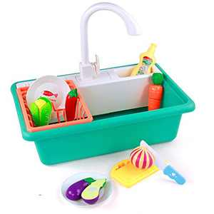 Pretend Kitchen Sink Toy Set Cut Vegetables Game Kitchen Accessories with Simulated Water Tap Kitchenware Dishwasher Wash Up Tap Water Toys Role Playing Games Birthday Gift for Boys Girls 3+ Year Old