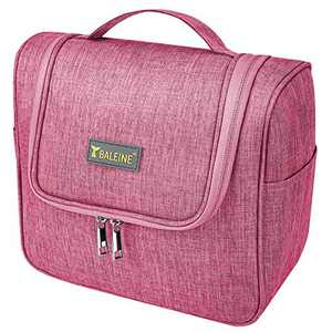 BALEINE Toiletry Bag for Women and Men, Water-Resistance Makeup Cosmetic Bags for Toiletries with Hanging Hook, Makeup bag for Travelling (Pink)