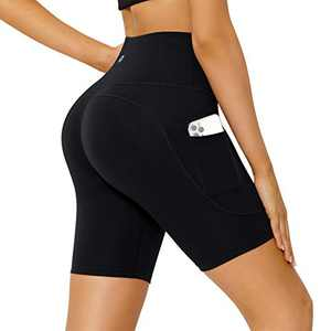Letsfit Women's High Waist Yoga Shorts, Non See-Through Biker Workout Running Pants with Side Pockets, Black, Large