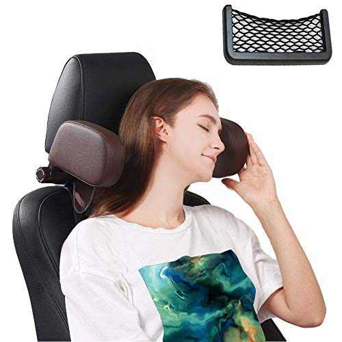 Arcwares Car Seat Headrest Pillow,Head Rest for Cars Support Pillows, Leather Sleeping Travel Headrest, 360 Degree Adjustable Both Bides for Kids Adults Pillow (Coffee)