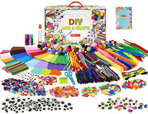 PANSHAN Mega Kids Crafts Kit and Art Supplies Jar Kit-1300+ Piece Set Make Bracelets and Necklaces - Plus Glitter Glue, Construction Paper, Colored Popsicle Sticks, Google Eyes, Pipe Cleaners