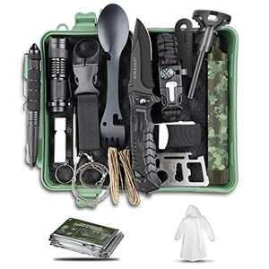 Gifts for Men Dad Boy, Survival Kit Survival Gear Hiking Emergency Kit Cool Gadgets Survival Tools for Adventures, Fishing, Camping, Hiking, Hunting, Hurricane, Earthquake, Birthday (Green)