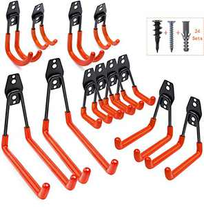 Garage Hooks Heavy Duty Steel Garage Storage Bike Hook with Anti-Slip Coating, Garden Organizing Power Tools Storage for Ladders, Bike, Hoses and Bulk Items (Orange)