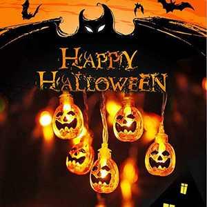 AERZETIX Halloween Pumpkin String Lights, Garden, Gate, Yard, Holiday Lights for Indoor Outdoor Decor, 3AA Battery Powered 2 Modes Steady/Flickering Lights (30 One Pumpkin Lights, 15 feet)