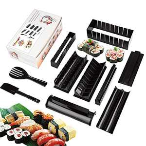 Sushi Making Kit, 10 Pieces Sushi Maker Set Complete with 8 Sushi Rice Roll Mold Shapes 1 Fork 1 Spatula DIY Home Sushi Tool for Beginners(Black)