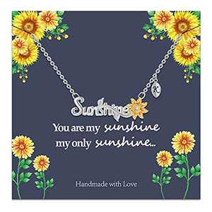 Sunflower Necklace Sunflower Gifts for Women, 14k Gold Plated Sunflower Necklace Sunflower Gifts You are My Sunshine Necklace Initial K Sunflower Jewelry Gifts for Women