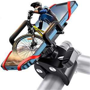 joyroom Bike Phone Mount with 360 Rotation, Anti-Shake Adjustable Bicycle Phone Holder for Universal Handlebar, Compatible with iPhone 11 Pro Max/11 Pro/XS Max/XR/8, Samsung (Red)