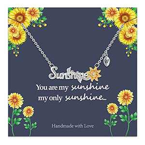 Sunflower Necklace Gifts for Women, 14k Gold Plated Sunflower Necklace Sunflower Gifts You are My Sunshine Necklace Initial W Sunflower Jewelry Gifts for Women