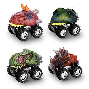 Snoky Dinosaur Toys for Kids 3-5, 4-Pack Dinosaur Cars for Boys Toys Age 3-12 Birthday Gifts for 5-7 Year Old Boys Vehicle Toys for Boys 4-8 Pull Back Cars Toy for Toddlers Christmas Stocking Stuffers