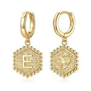 Dainty Initial Earrings for Girls Kids, 14K Gold Plated Small Cute Initial Earrings for Kids Teen Girls Huggie Earrings for Women Hexagon Letter Initial A Kids Earrings Girls Earrings Girls Jewelry