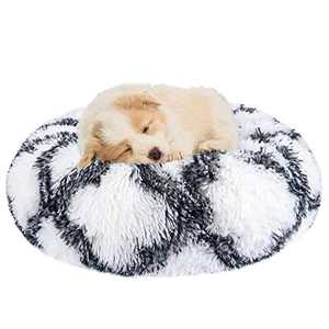 INVENHO Orthopedic Dog Bed Cat Bed for Small Medium Dogs Pet Bed Donut Cuddler Round Soft Calming Bed, Self Warming and Washable Sleeping Bed (16-Inch, Gray White