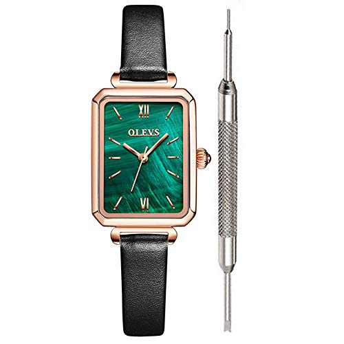 OLEVS Fashion Square Leather Watches for Women Green Stone Square Retro Watch Ladies Gold Analog Quartz Watches for Women Classic Green Face Womens Gold Watch