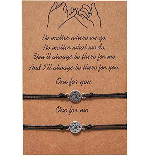 Best Friend Bracelet Sunflower Bracelet for Girls Women Couples,Pinky Promise Bracelet Friendship Bracelet for 2 Adjustable matching bracelets Friendship gifts (Compass)