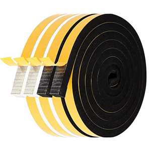 Window Weather Stripping-4 Rolls, 1/2 Inch Wide X 3/8 Inch Thick Total 26 Feet Long, Foam Weatherstrip Tape for Door Insulation, Weather Sealing Adhesive (6.5ft x 2 Rolls Black+6.5ft x 2 Rolls White)