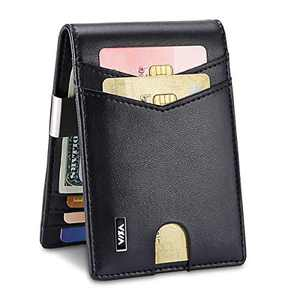 WXM Money Clip Wallet- Mens Wallets slim Front Pocket RFID Blocking Card Holder Minimalist Mini Bifold Gift Box (Black)