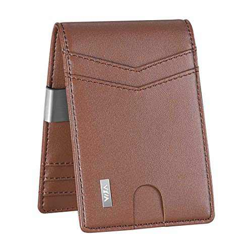 WXM Money Clip Wallet- Mens Wallets slim Front Pocket RFID Blocking Card Holder Minimalist Mini Bifold Gift Box (Brown)