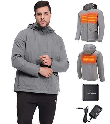 TOPLEADS Men Heated Jacket Charger Warm Sweat Hoodies Grey 2XL