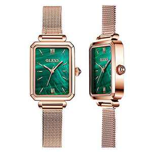OLEVS Fashion Retro Square Gold Watches for Women Green Stone Square Metal Watch Ladies Analog Quartz Watches for Women Classic Green Face Womens Gold Watch