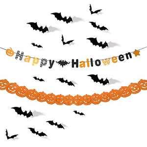 JRrutien Happy Halloween Banner Pumpkin Paper Garland 3D Bats Scary PVC Stickers Decal Wall Halloween Party Decorations