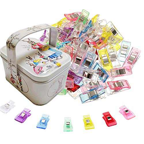 Wonder Sewing Clips for Fabric Sewing Binding Pack of 100, 90 Small and 10 Middle Quilt Clips with Tin Box Package
