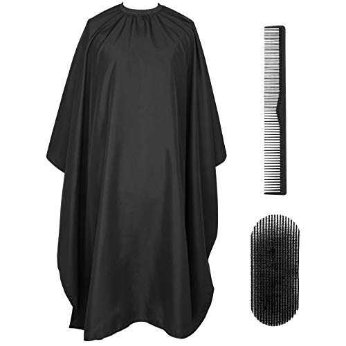 "PLYRFOCE Professional Barber Salon Cape Haircut Cover Hairdresser Hair Holder Comb Kit Hair Cutting Capes For Men Women Adults Kids 4Pcs, 55""x63""(Black)"