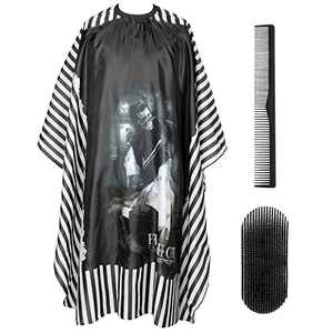 """PLYRFOCE Professional Barber Salon Cape Haircut Cover Hairdresser Hair Holder Comb Kit Hair Cutting Capes For Men Women Adults Kids 4Pcs, 55""""x63""""(Skull)"""