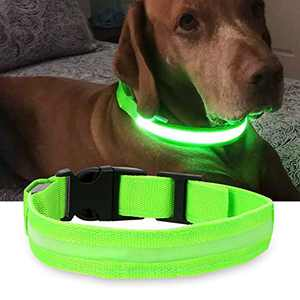 CKV LED Dog Collar, 3 Modes USB Rechargeable Safety Dog Collar Glowing Pet Safe Collar, Nylon Webbing Reflective Light Up Collars for Dogs