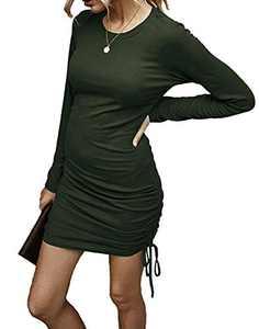 Kafiloe Women Casual Mini Sweater Dress Long Sleeve Drawstring Knitted Sheath Bodycon Ruched Club Dresses Green XL