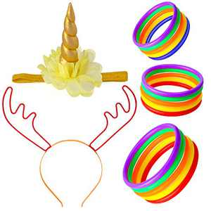 Beelittle Unicorn& Reindeer Antler Ring Toss Game Unicorn Horn Headband and Toss Ring Set for Kids Family Carnival Garden Backyard Outdoor Games Birthday Party Decoration Supplies (Set C)