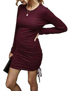 Women Casual Mini Sweater Dress Long Sleeve Drawstring Knitted Sheath Bodycon Ruched Club Dresses Red M