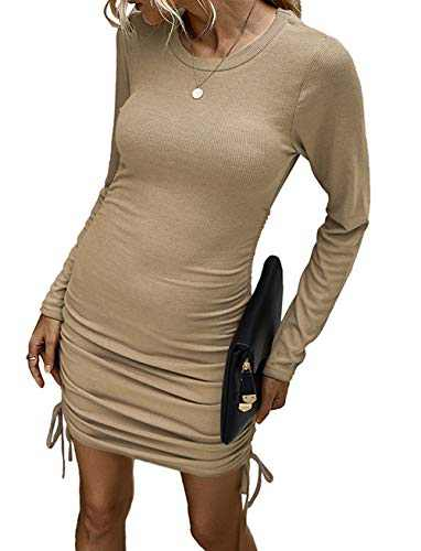 Kafiloe Women Casual Mini Sweater Dress Long Sleeve Drawstring Knitted Sheath Bodycon Ruched Club Dresses Khaki S