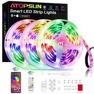 LED Strip Lights 50FT/15M, ATOPSUN Music Sync Color Changing 5050 RGB LED Light Strips Kit, App Control with Remote, Sensitive Built-in Mic Bluetooth Controller for Home Bedroom Kitchen TV Party