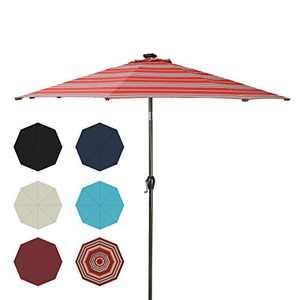 Ginelite LED Umbrella Patio Umbrella Solar Light Outdoor Umbrella Garden Market Umbrella 8 LED Light Ribs, Olefin Fading-Resistance Canopy, Aluminum Frame and Ribs 9Ft Striped